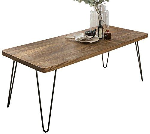 FineBuy Massiver Esstisch Harlem Sheesham Massiv Holz | Esszimmertisch Massivholz mit Design Metall Beinen | Holztisch Tisch Esszimmer | Küchentisch