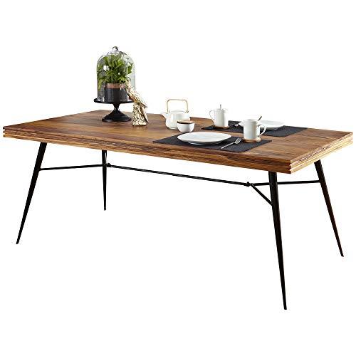 FineBuy Massiver Esstisch Nasha Sheesham Massiv Holz | Esszimmertisch Massivholz mit Design Metall Beinen | Holztisch Tisch Esszimmer | Küchentisch Holzplatte mit Metallgestell