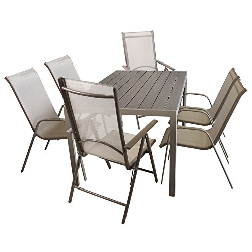 Gartenmöbel-Set Gartentisch, Aluminiumrahmen, Tischplatte Polywood Mokka, 150x90cm + 4x Stapelstuhl, Textilenbespannung, stapelbar + 2x Hochlehner, Aluminiumgestell, Lehne in 7 Positionen verstellbar