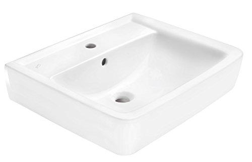 Geberit Waschtisch-/becken Renova Nr. 1 Plan, 600 x 480 mm, Weiß, Eckig, mit Hahnloch und Überlauf, 222260000
