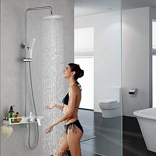 Homelody Wasserhahn Bad Badarmatur waschtischarmatur für Bad Wasserhahn Duscharmatur mit Regal Duschsystem Duschset Regendusche Rainshower