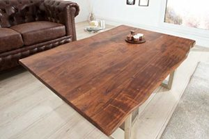 Invicta Interior Massiver Baumstamm Couchtisch Mammut braun 120cm Akazie Massivholz verchromtes Kufengestell Holztisch