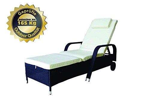 MK Outdoor Rattan Rattanliege Lounger Deluxe-S, belastbar bis 165 kg, inklusive Bequeme abwaschbare Auflage und Kopfkissen, schwarz, Gartenliege, Relaxliege, Liegestuhl, Sonnenliege Rattanmöbel