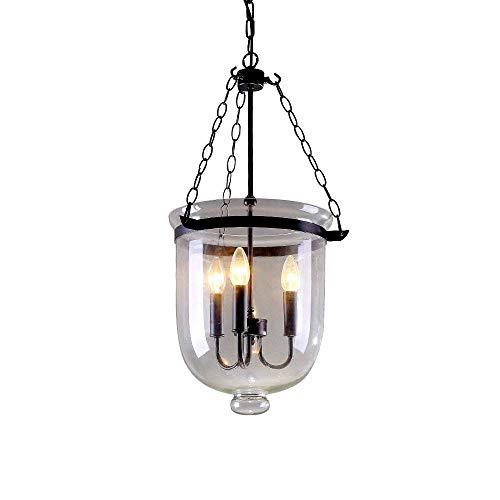 MXK-Lampe Retro Vintage Pendelleuchte Industria Design Runde Glas Schatten Metall Framework 3 Flammige Hängelampe Für Büroräume Flure Küche Badezimmer Φ300MM Max 40W E14 Höhenverstellbare 50Cm