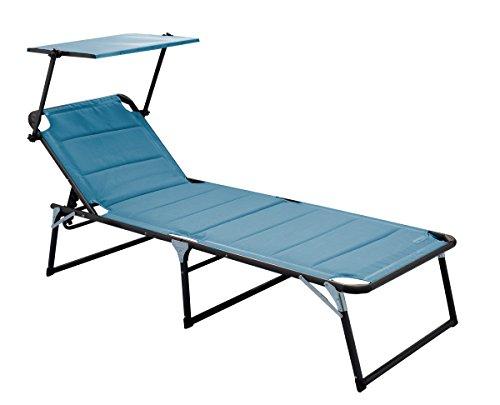 Meerweh Aluminium Gartenliege XXL mit Dach Dreibeinliege gepolstert mit Quick Dry Foam Sonnenliege Blau 200 x 70 x 37,5 cm