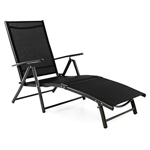 Nexos Alu Stahl Klappliege Textilene Sonnenliege Liegestuhl Campingliege schwarz Creme Rahmen Silber anthrazit