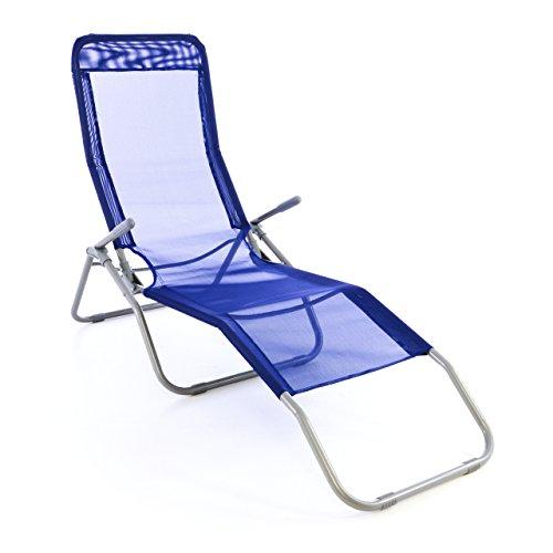 Nexos Gartenliege Bäderliege 160 x 48,5 x 100 cm Textilene blau 5kg Armlehne Stahlrahmen Relaxliege klappbar Kippliege bis 100 kg belastbar wetterfest pflegeleicht Farbe wählbar grau blau schwarz