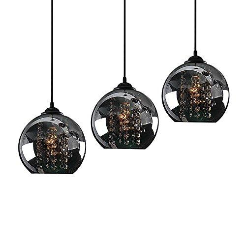 Pendellampe K9 Crystal Octagonal Perle Schwarz 3-flammig runden Pendelleuchte, Glas Anhänger Leuchte, Hardware, D50CM, Kronleuchter Schlafzimmer, Esszimmer Hänge leuchte Wohnzimmer Kunst Esstischlampe