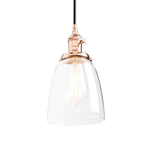 Phansthy Vintage Industrielle Pendelleuchte, Antik Glasschirm Loft Bar Esszimmer Kaffee Küche Pendelleuchte, Hängelampe, Retro Lampe, Industrie Glas Lampe für E27 Leuchtmittel