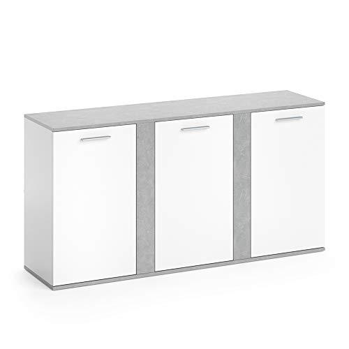 Vicco Sideboard NOVELLI Highboard weiß Beton Kommode Anrichte Schrank 3 Türen