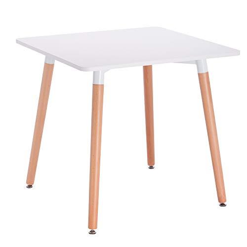 WOLTU® Esszimmertisch BT16ws Esstisch Küchentisch Schreibtisch Arbeitstisch, Tischplatte aus MDF, Gestell aus Massivholz, 80x80x75cm, Weiß