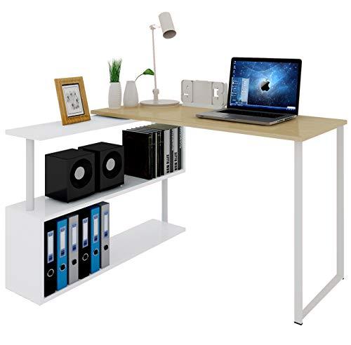 WOLTU® Schreibtisch #1195 Eckschreibtisch Winkelschreibtisch Winkelkombination Computertisch Bürotisch Arbeitstisch PC Laptop Tisch, mit Ablagen, 120x100x74cm(BxTxH), MDF