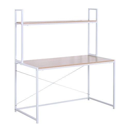 WOLTU Schreibtisch Computertisch Büromöbel PC Tisch Bürotisch Arbeitstisch aus Holz und Stahl, mit Ablage, ca. 120x60x140 cm, Hell Eiche+Weiß