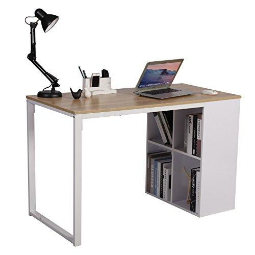 WOLTU® Schreibtisch TSG26 Computertisch Bürotisch Arbeitstisch PC Laptop Tisch, in Melamin, mit 4 Ablageflächen, Gestell aus Stahl, 120x60x75cm(BxTxH)