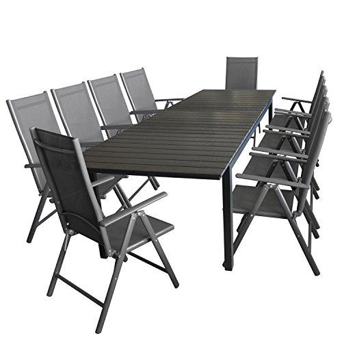 Wohaga 11tlg. Gartengarnitur Gartenmöbel Terrassenmöbel Set Sitzgruppe Aluminium Gartentisch Polywood 280/220x95cm ausziehbar Schwarz + 10x Hochlehner 2x2 Textilen Grau