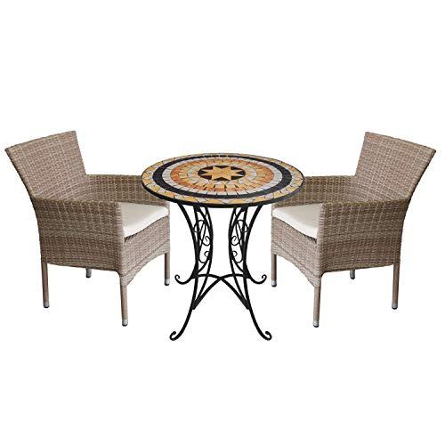 Wohaga 3tlg. Sitzgruppe Gartenmöbel-Set Mosaiktisch Ø70cm + 2X Rattansessel, stapelbar, Polyrattan Natur, inkl. Kissen beige