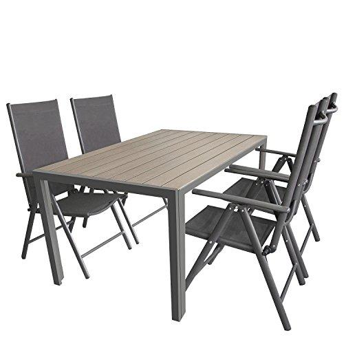 Wohaga 5tlg. Gartengarnitur Gartenmöbel Terrassenmöbel Set Sitzgruppe Aluminium Gartentisch Polywood 150x90cm Grau + 4X Hochlehner 2x2 Textilen Grau