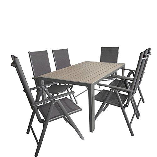 Wohaga 7tlg. Gartengarnitur Gartenmöbel Terrassenmöbel Set Sitzgruppe Aluminium Gartentisch Polywood 150x90cm Grau + 6X Hochlehner 2x2 Textilen Grau