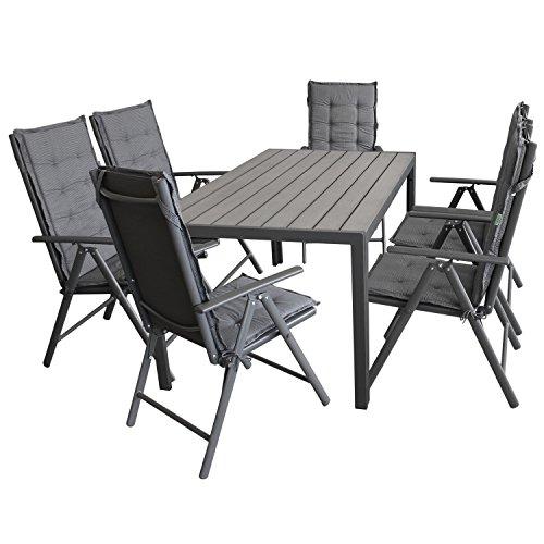 Wohaga Gartenmöbel-Set Gartentisch, Aluminiumrahmen Anthrazit, Tischplatte Polywood Grau, 150x90cm + 6X Hochlehner, 2x2 Textilenbespannung, Lehne 7-Fach verstellbar + 6X Stuhlauflage