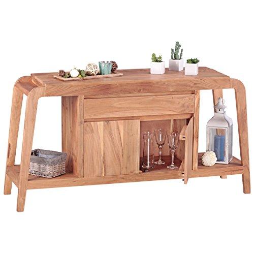 Wohnling Sideboard Massivholz Kommode 150 cm 1 Schublade 1 Fach Design Highboard Landhaus-Stil braun Natur Echt-Holz Schubladenkommode Natur-Produkt Flur-Möbel Aufbewahrung Dielen-Möbel