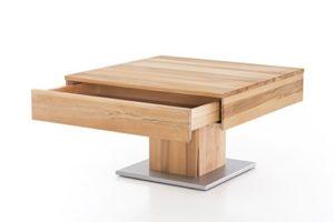 Woodlive Massivholz Couchtisch quadratisch aus Kernbuche, geölter Wohnzimmer-Tisch, Beistelltisch inkl. Schublade, Tisch 75 x 75 cm