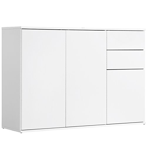 mokebo® 'Die Elegante' Kommode, Sideboard, Highboard, Anrichte, Schrank in Weiß mit Push-to-Open Funktion, 117x81x34 cm (B/H/T), Made IN Germany!